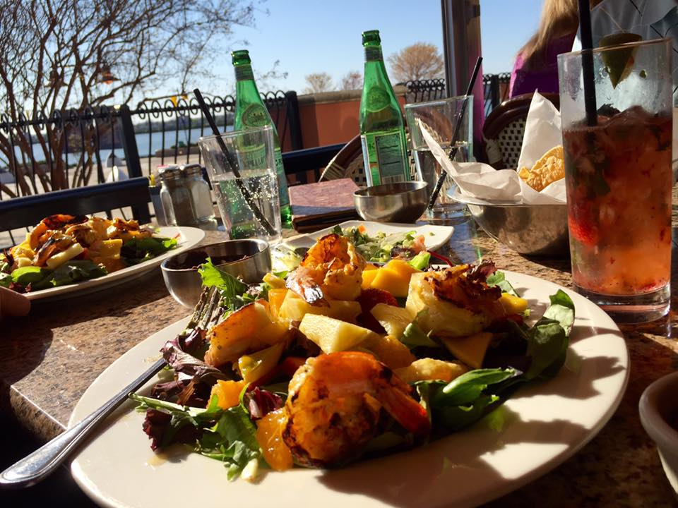 Grilled shrimp salad with lake view at Gloria's in Rockwall | The Rose Table